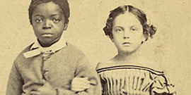 Isaac & Rosa, slave children from New Orleans; Photographed by Kimball; Ent'd accord'g to act of Congress in the year 1863; Library of Congress.