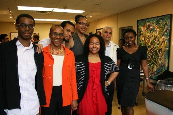 L to R:  Chris McCray, Dr. Omi Osun Joni L. Jones (Chair, Graduate Studies Committee), Gustavo Cerqueira, Tamela Jackson, Omaris Zamora, Dr. Edmund T. Gordon (Chair, AADS), Abimbola Adelakun.