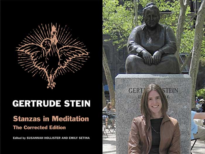 Susannah Hollister with the Gertrude Stein statue in Bryant Park