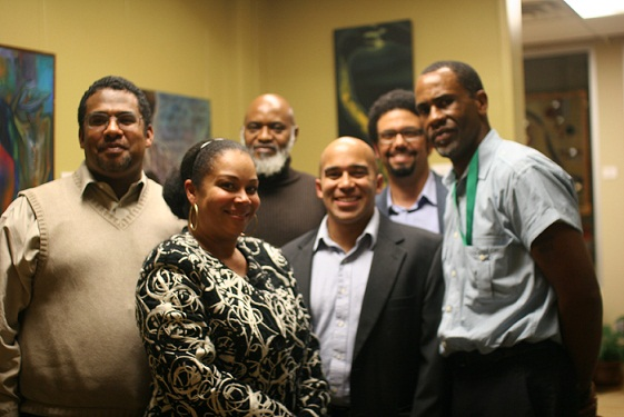 From l-r: Dr. Anthony Brown, Dr. Keffrelyn Brown, Dr. Moyo Okediji, Dr. Kevin Foster, Dr. Frank Guridy (Center Director), and Dr. Stephen Marshall