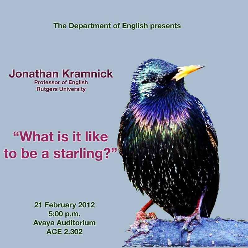 Rutgers University Professor Jonathan Kramnick Lecture on February 21