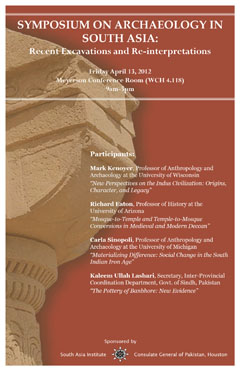 Symposium on Archaeology in South Asia: Recent Excavations and Re-interpretations