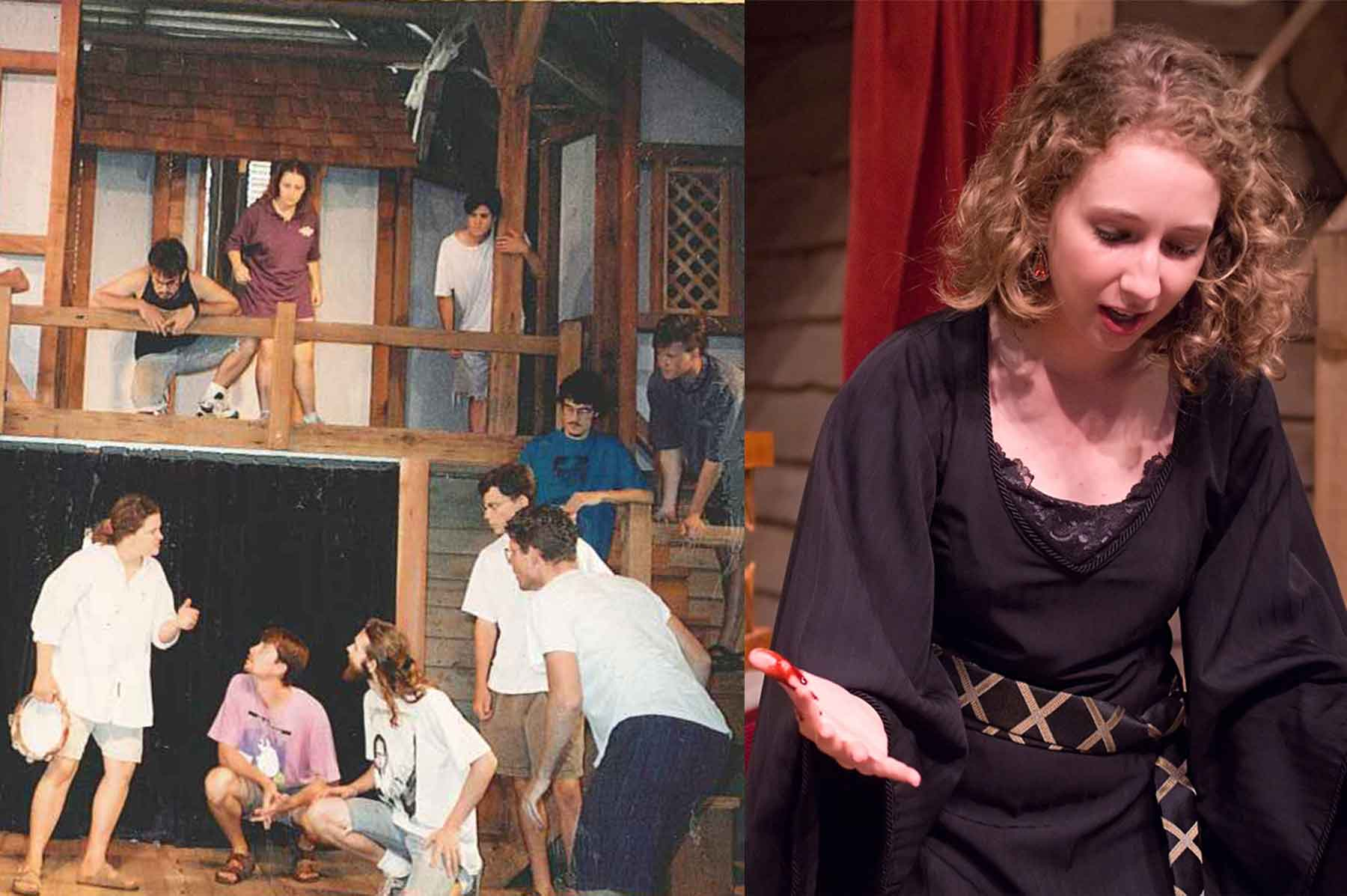 Romeo and Juliet rehearsal in 1994 next to Emilia Mahaffey at performance in 2009.
