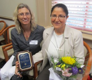 Dr. Gloria Gonzalez-Lopez (left) with Sociology Chair Dr. Christine Williams (right)