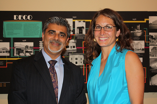 Prof. Amber Abbas with Ali Khataw at the Austin History Center reception. Photo copyright Yvonne Lim Wilson, AsianAustin.com