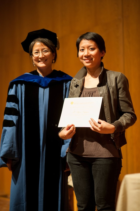 CAAS Director Madeline Hsu with Tu-Uyen Nguyen, Undergraduate Research Awardee at GraduAsian (Photo copyright Quit Nguyen)