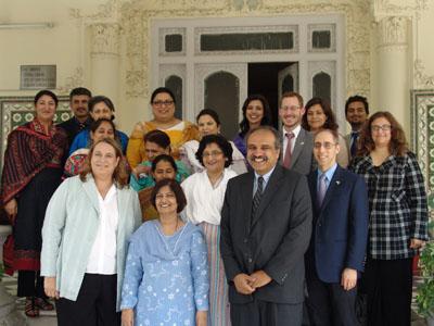 Front row (l to r), Kathryn Schalow, U.S. Embassy; Samina Amin Qadir, Vice Chancellor, FJWU; Kamran Asdar Ali, Director of the South Asia Institute