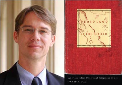 James Cox and the book cover for 'The Red Land to the South'