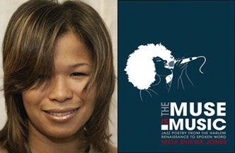 Meta Jones and the book cover for 'The Muse is Music'