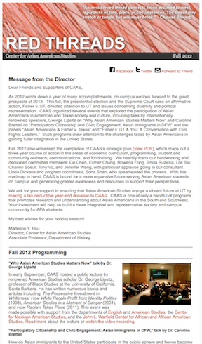 Read CAAS's Fall 2012 E-Newsletter