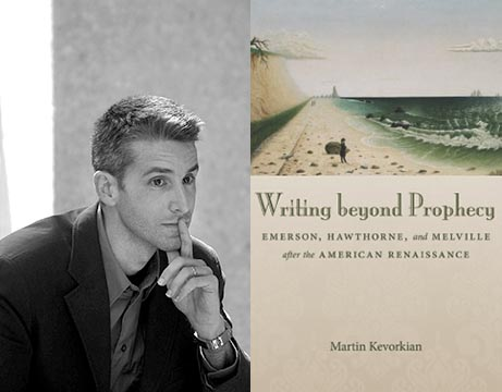 Martin Kevorkian and the book cover of 'Writing beyond Prophecy'