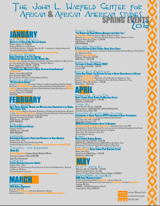 The John L. Warfield Center for African and African American Studies Spring Events 2013