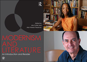 The cover of 'Modernism and Literature' and photographs of Carter and Friedman