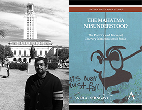 Snehal Shingavi and the cover of 'The Mahatma Misunderstood'