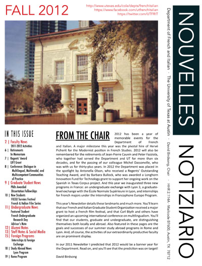 Fall 2012 Departmental Newsletter Published