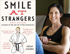 'Smile at Strangers' cover image and photograph of Susan Schorn