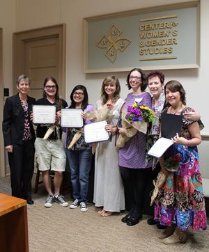 The CWGS Annual Spring Reception. From left: Mollie Marchione, Brandon Robinson, Victoria Dominguez, Rebecca Besaw, Rebecca Rossen, Sue Heinzelman, and Zazil Elena Reyes Garcia.