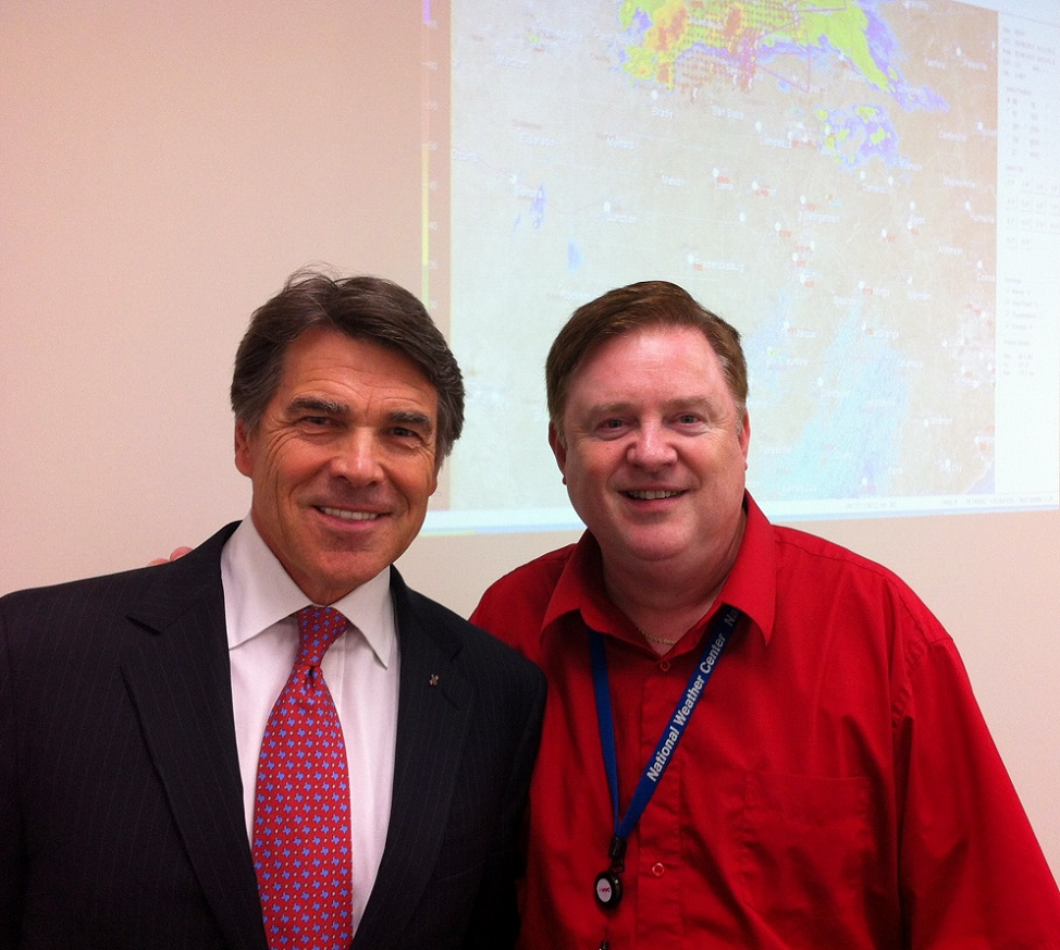 Senior Lecturer Troy Kimmel with Texas Governor Rick Perry at the command center