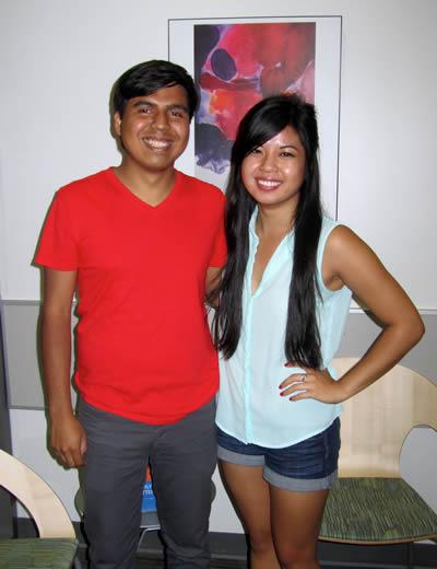 Students Tom Guerra and Jasmine Vu.
