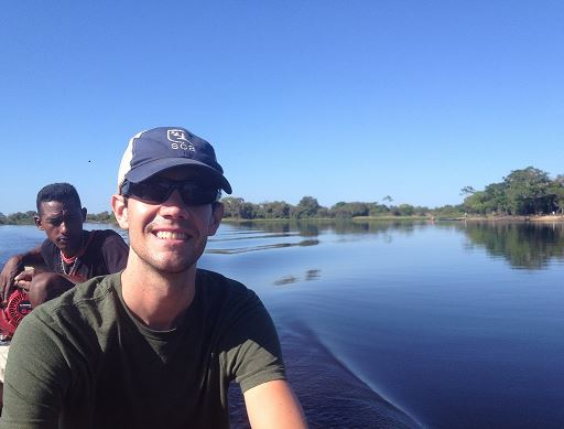Justin Laue (right) and a local resident near the confluence of the Araguaia and Tocantins rivers.