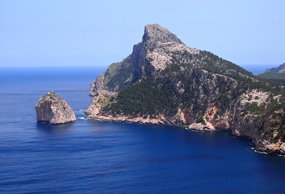 Panorama of the Formentor Peninsula- beautiful blue ocean and Aleppo pine.