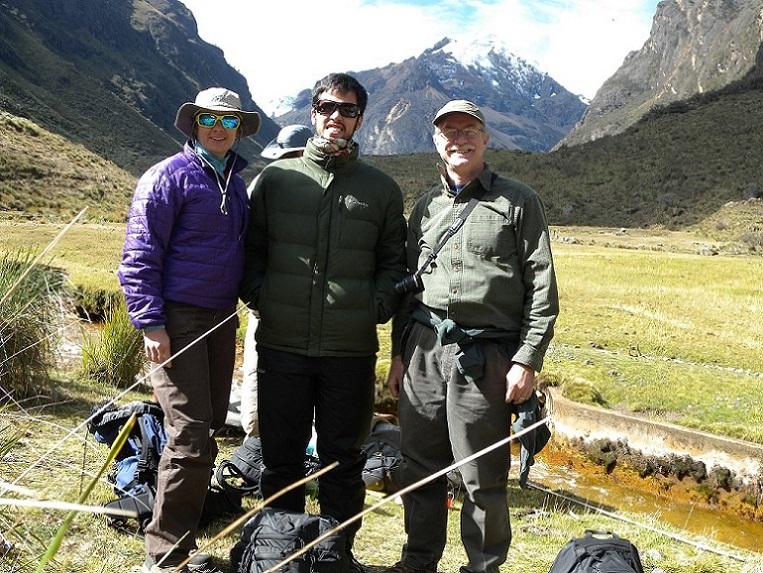 Graduate student Molly Polk, undergraduate Nicolas Montoya, and Dr.Young in Peru
