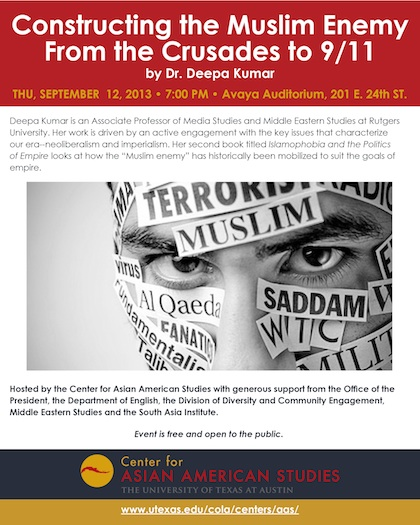 CAAS Event: Sep 12 at 7pm, Constructing the Muslim Enemy: From the Crusades to 9/11