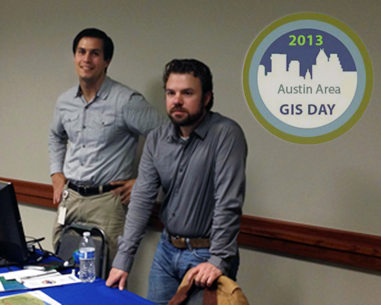 Doctoral Student Robert Bean (R) and student George Sosa (L) represented ASPRS and the Department of Geography and the Environment at GIS Day