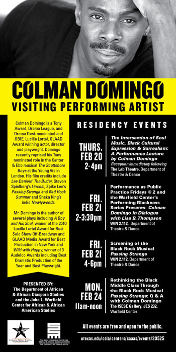 Colman Domingo: The Spring 2014 AADS and Warfield Center Artist in Residence