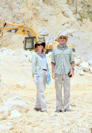 Drs. Sheryl and Tim Beach in the Albion Quarry of Belize, surrounded by geologic material ejected from the Cretaceous-Tertiary period Chicxulub asteroid impact 65 million years ago.