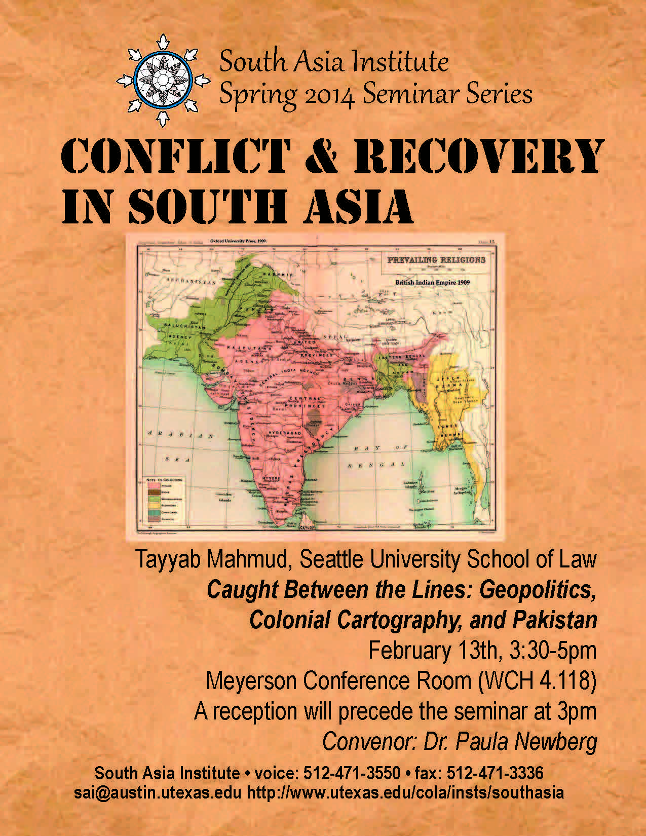 South Asia Seminar Series: 'Caught Between the Lines: Geopolitics, Colonial Cartography, and Pakistan'