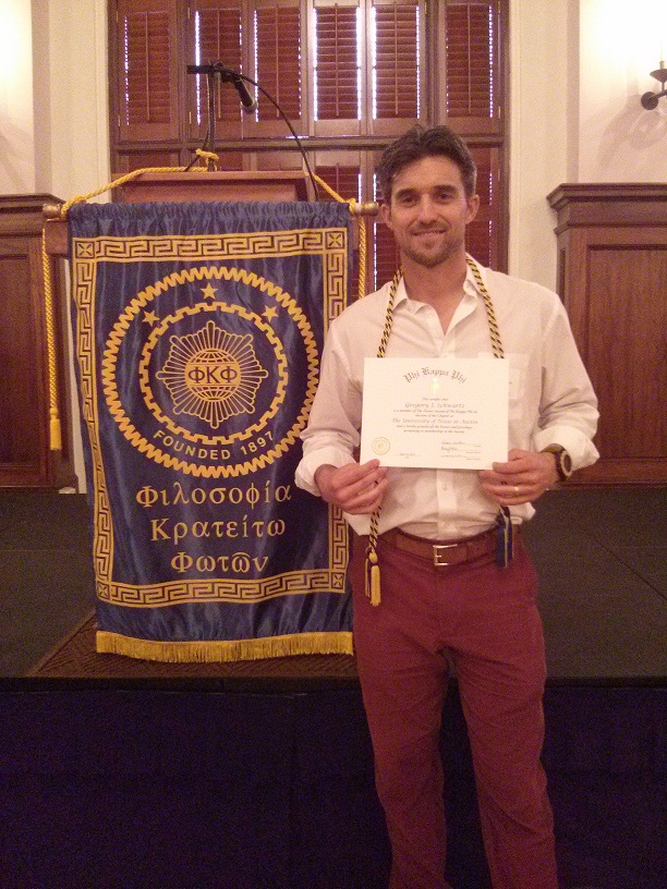 Ph.D. Student Gregory Schwartz Invited to Phi Kappa Phi National Academic Honor Society