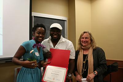 WGS MA Thesis Award Winner, Patena Key with Dr. Matt Richardson and Dr. Alex Wettlaufer