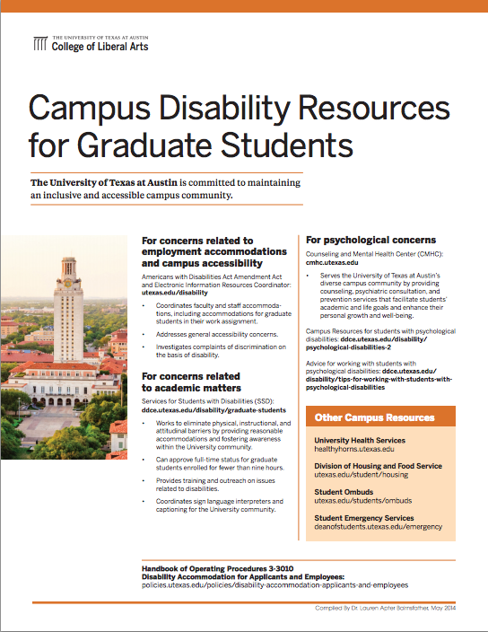 UT Austin Disability Resources for Graduate Students