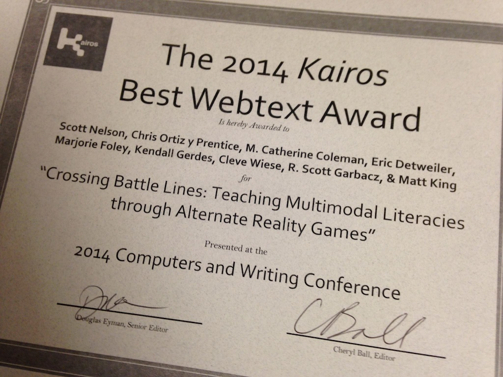 DWRL Celebrates Kairos Best Webtext Award