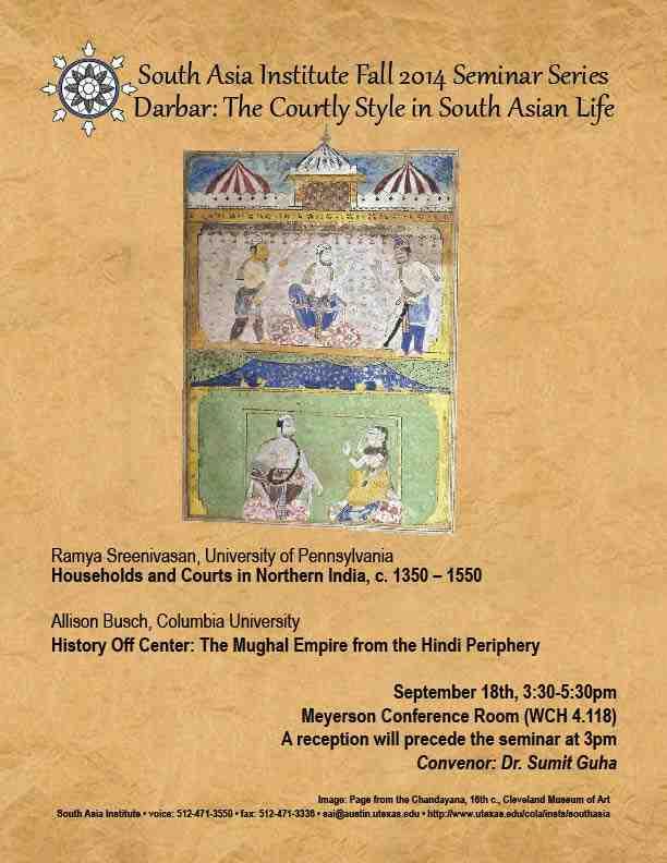 South Asia Seminar Series: Prof. Ramya Sreenivasan, University of Pennsylvania & Prof. Allison Busch, Columbia University