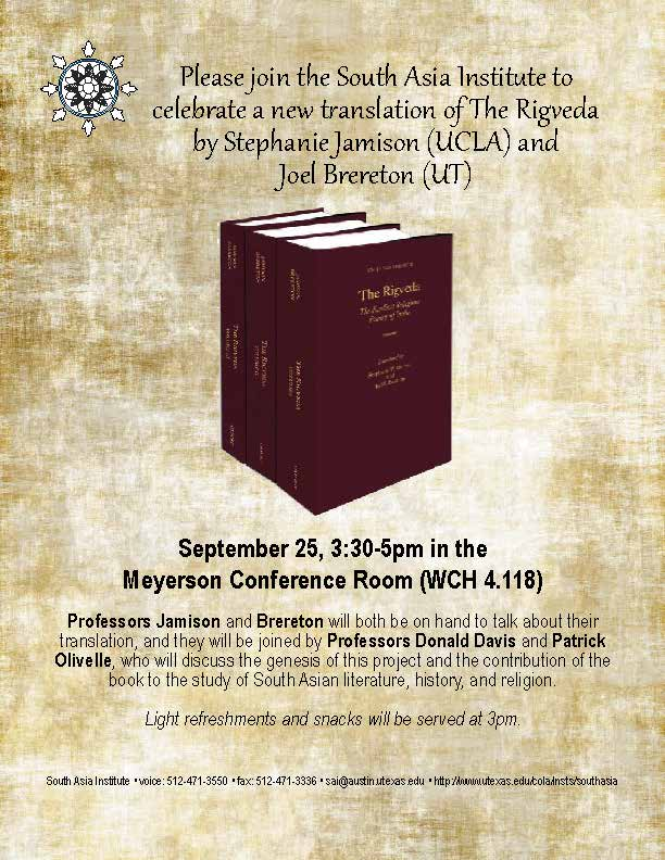 Book Launch Reception: Rigveda by Joel Brereton and Stephanie Jamison