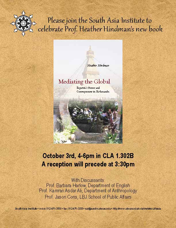 Book Launch Reception: 'Mediating the Global: Expatria's Forms and Consequences in Kathmandu' by Prof. Heather Hindman