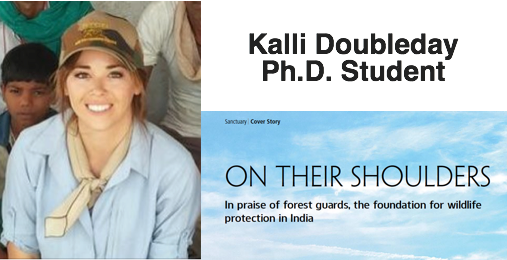 Photo collage- Kalli Doubleday in the field, cover story art from Sanctuary Asia magazine