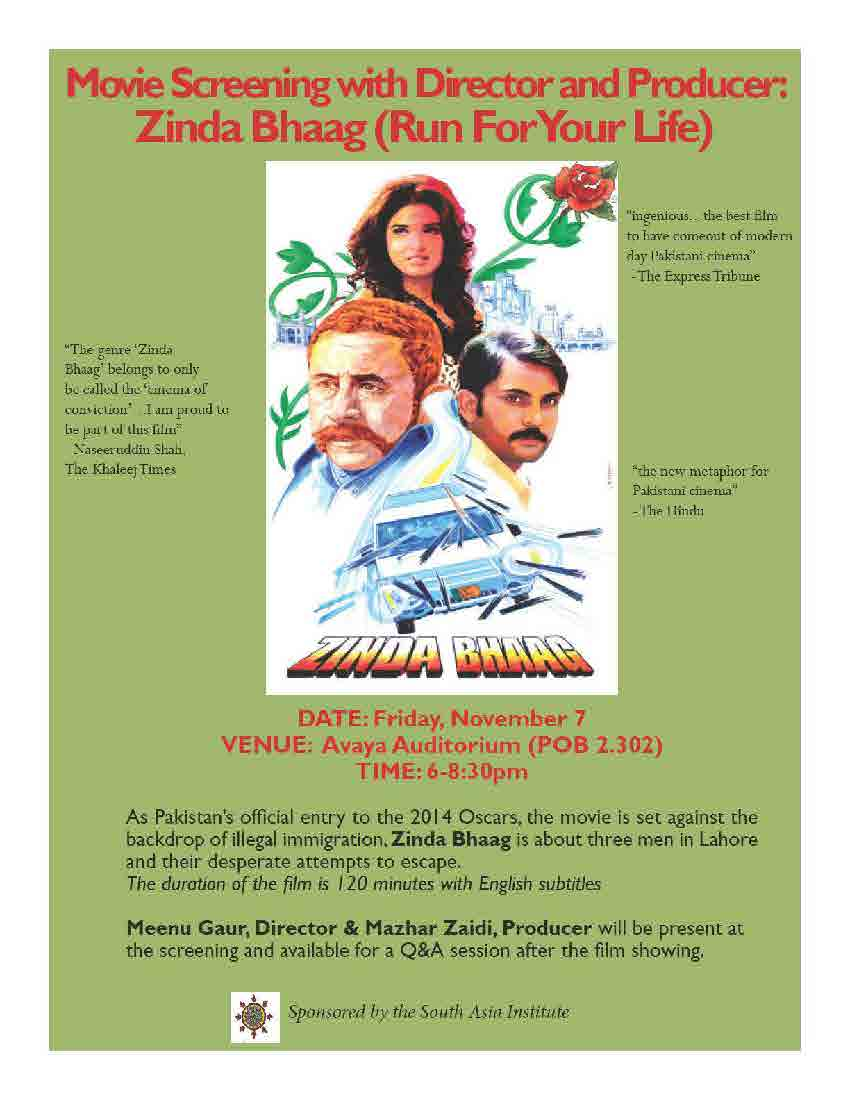 Movie Screening with Director and Producer: Zinda Bhaag (Run for Your Life)