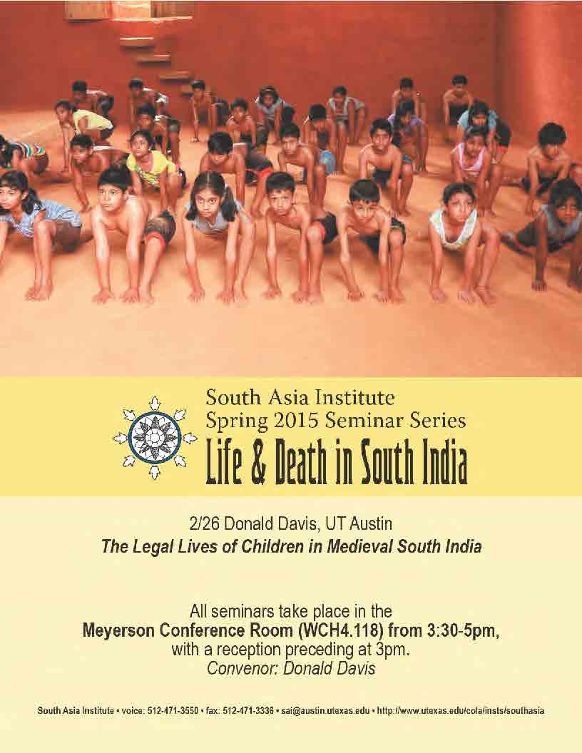 South Asia Seminar Series: Prof. Donald Davis, UT Austin
