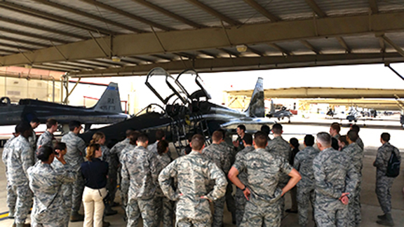 Cadets check out the T38 training squadron while on tour of Randolph AFB