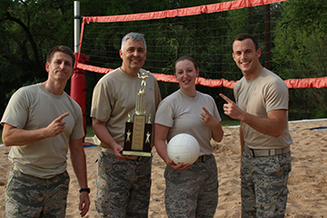 Cadre tops out the corps at volleyball.