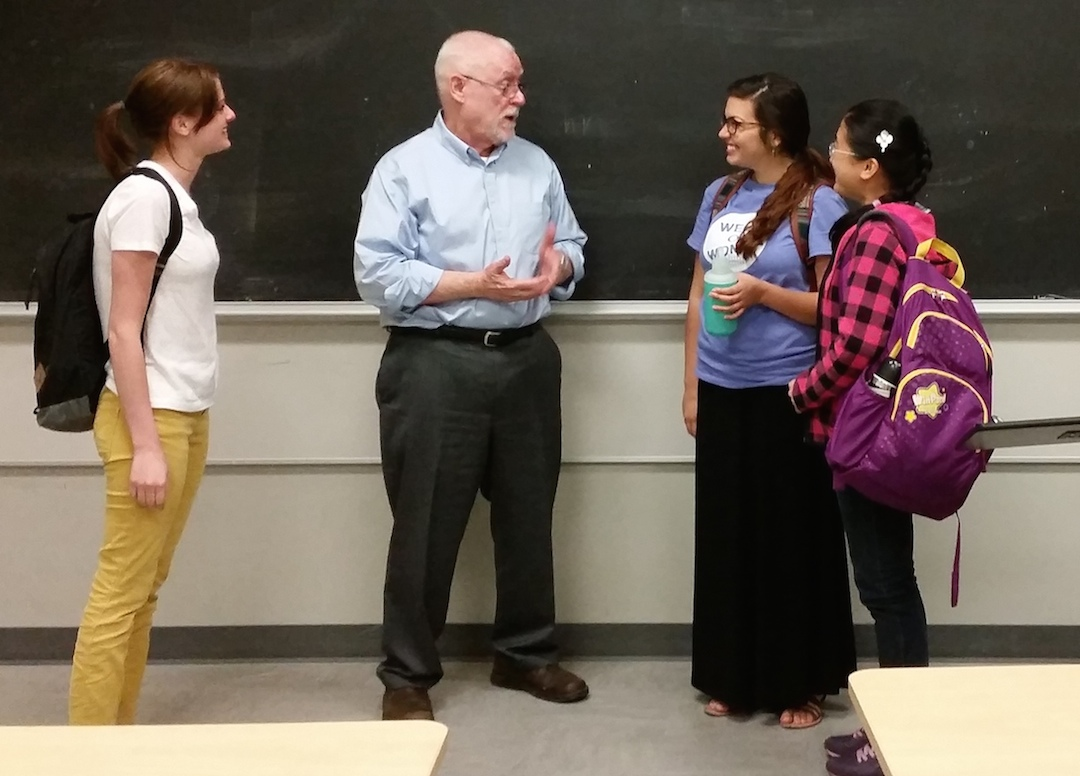 Dr. Zonn talking with students after class, spring semester, 2015.  Photo courtesy of Nicole Siegel
