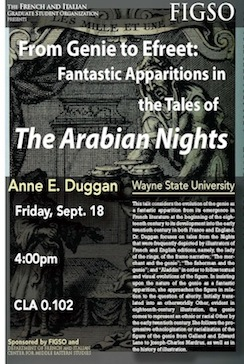 """FIGSO Speaker Series presents: Dr. Anne Duggan,  """"From Genie to Efreet: Fantastic Apparitions in the Tales of The Arabian Nights"""""""