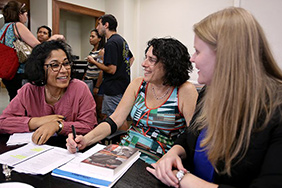 Indrani Chatterjee, Laurie Green, and Julia Gossard. Photo by Thalia Juarez, Daily Texan Staff