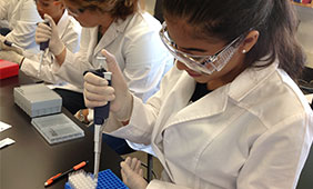 I'lynne Marquez practices extracting DNA in Deborah Bolnick's anthropology lab.
