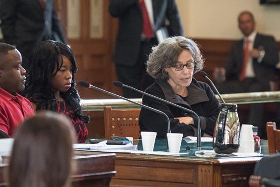 Prof. Joan Nueberger testifying on Jan. 26. Photo by Matt Valentine.