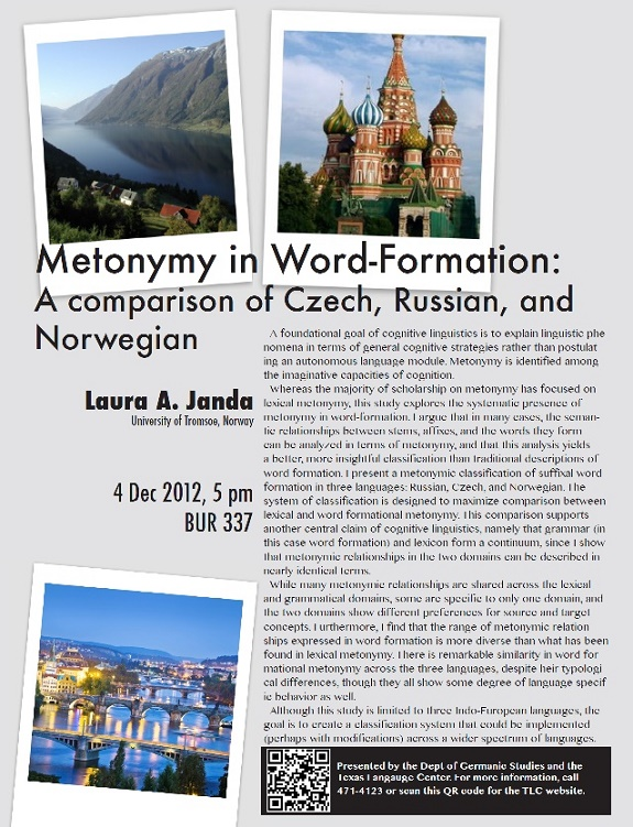 Metonymy in Word-Formation: A Comparison of Czech, Russian, and Norwegian