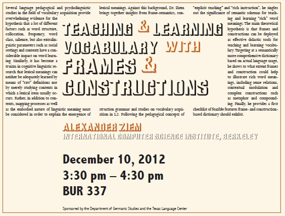 Teaching and Learning Vocabulary with Frames and Constructions
